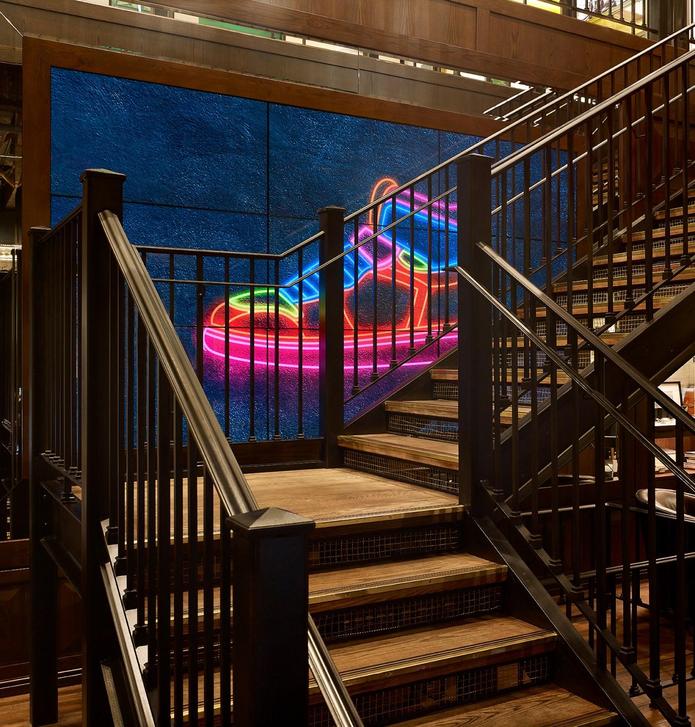 "WOS ""Sneaker Time"" stair display"
