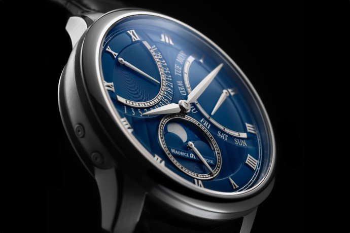 2019 Maurice Lacroix Moonphase Masterpiece Retrograde dial closeup angled