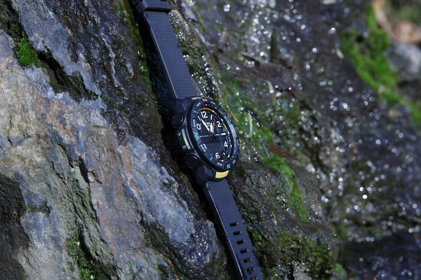 Casio Pro Trek PRT-B50 hanging on cliff face