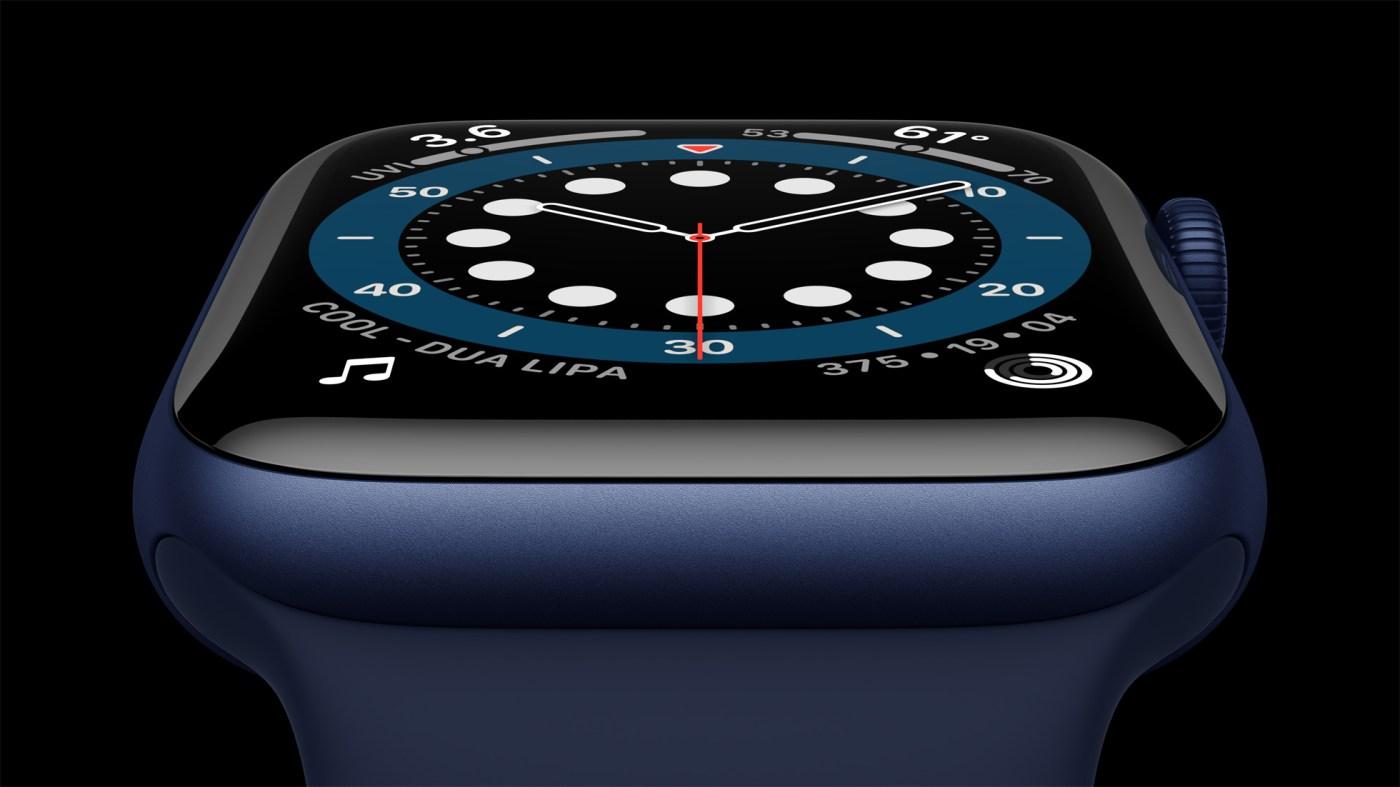 Apple Watch Series 6 Aluminum-blue case close up 09152020