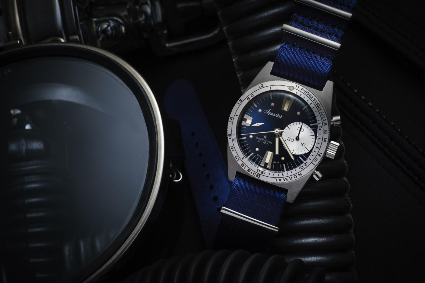 2020 Aquastar Deepstar Chronograph Re-Edition blue dial