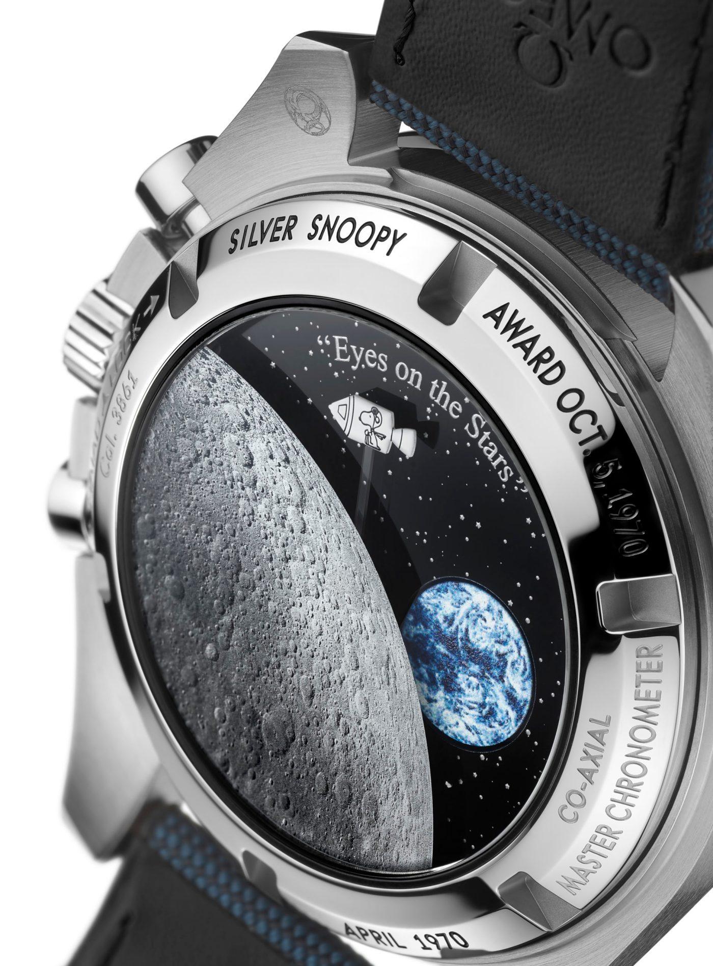 "Omega Speedmaster ""Silver Snoopy Award"" 50th Anniversary caseback close-up"