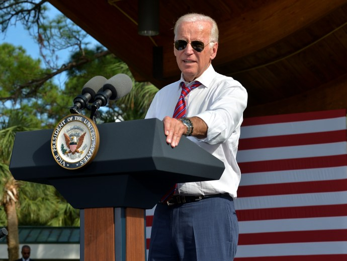 Then Vice President Biden, speaking to a crown in Florida in 2016. Seen with Omega Seamaster 300M with blue dial.