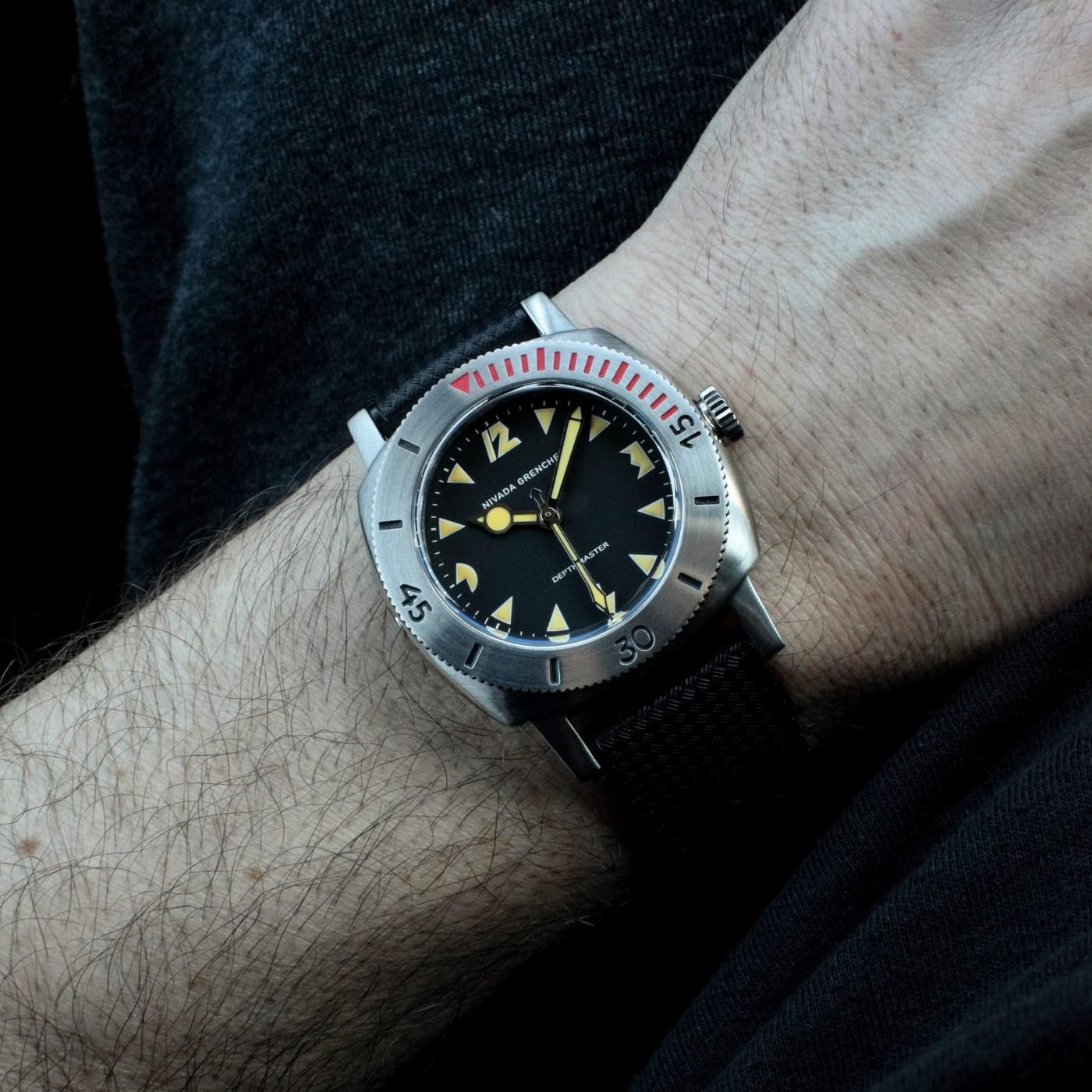 Nivada Grenchen Depthmaster 1000 Pac-Man wristshot