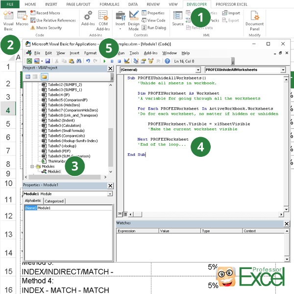Unhide All Hidden And Very Hidden Sheets In Excel At Once  Professor Excel