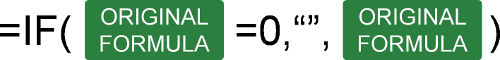 Structure of the IF formula for changing zeroes to blank cells.