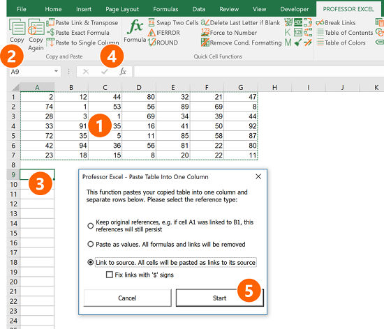 """The Excel add-in """"Professor Excel Tools"""" provides a convenient way to copy a table into a single column."""