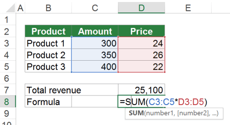 Example of a simple array formula.
