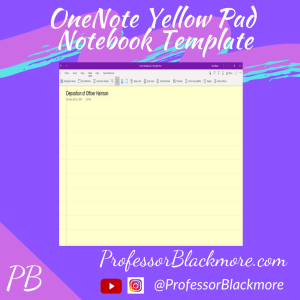 OneNote (Pre-Made) Yellow Pad Notebook Template