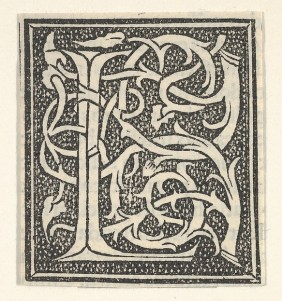 Anonymous, Italian, 16th century Initial letter L on patterned background, 1520 Italian, Woodcut, criblé ground; Sheet: 1 7/8 × 1 11/16 in. (4.8 × 4.3 cm) The Metropolitan Museum of Art, New York, Gift of Henry W. Kent, 1941 (41.44.1787(6)) http://www.metmuseum.org/Collections/search-the-collections/700386