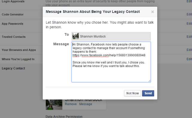 How To Make Sure Your Facebook Survives After Death - Legacy Contact Message
