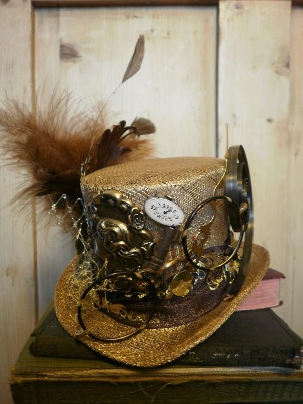 Steampunk Style Gold Mini Top Hat. Professor Maelstromme