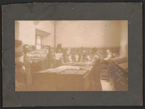 Printmaking workshop circa 1890