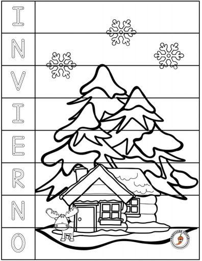 One of kids' favorite Winter Spanish Preschool Activities:  Rompecabezas de invierno