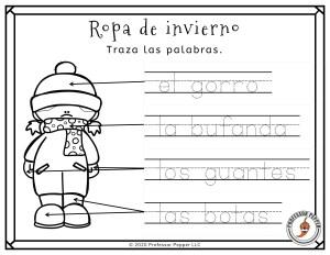 Example of Winter Preschool Spanish Activities:  Identify la ropa de invierno