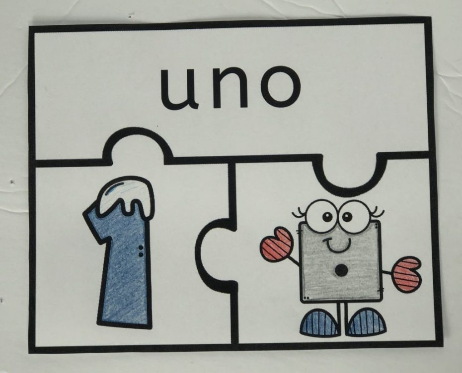 Example of Spanish UNO numbers puzzle