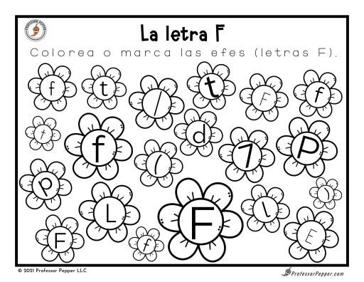 Letter F Visual Discrimination