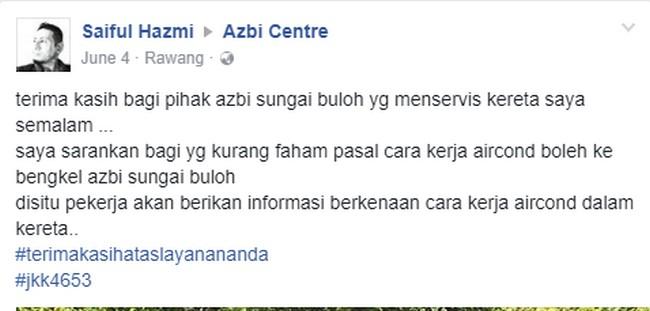 testimoni-pelanggan-azbi-2 Servis Aircond Kereta Di Shah Alam