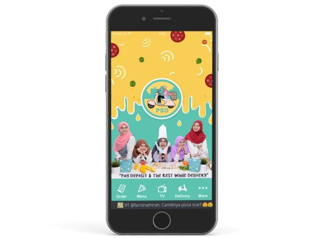 tempah tudung satin dengan aplikasi mobile