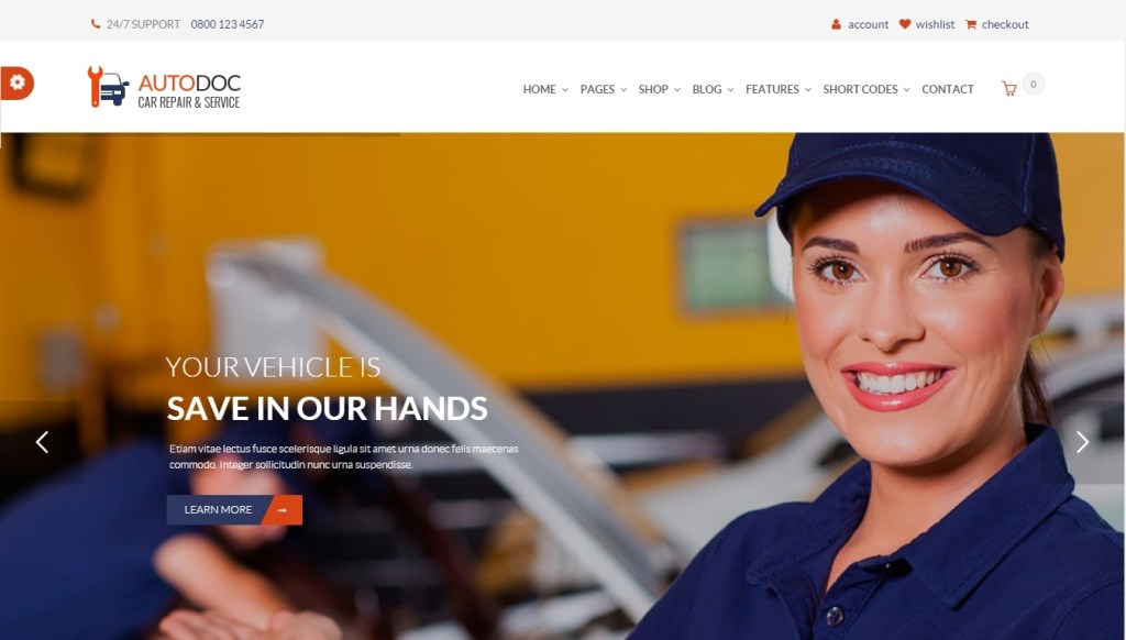 Wordpress themes for car dealership, car repair, auto-salon and car rental services