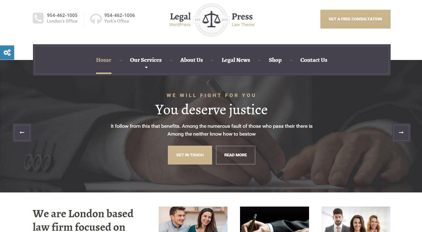 LegalPress — lawful WordPress theme