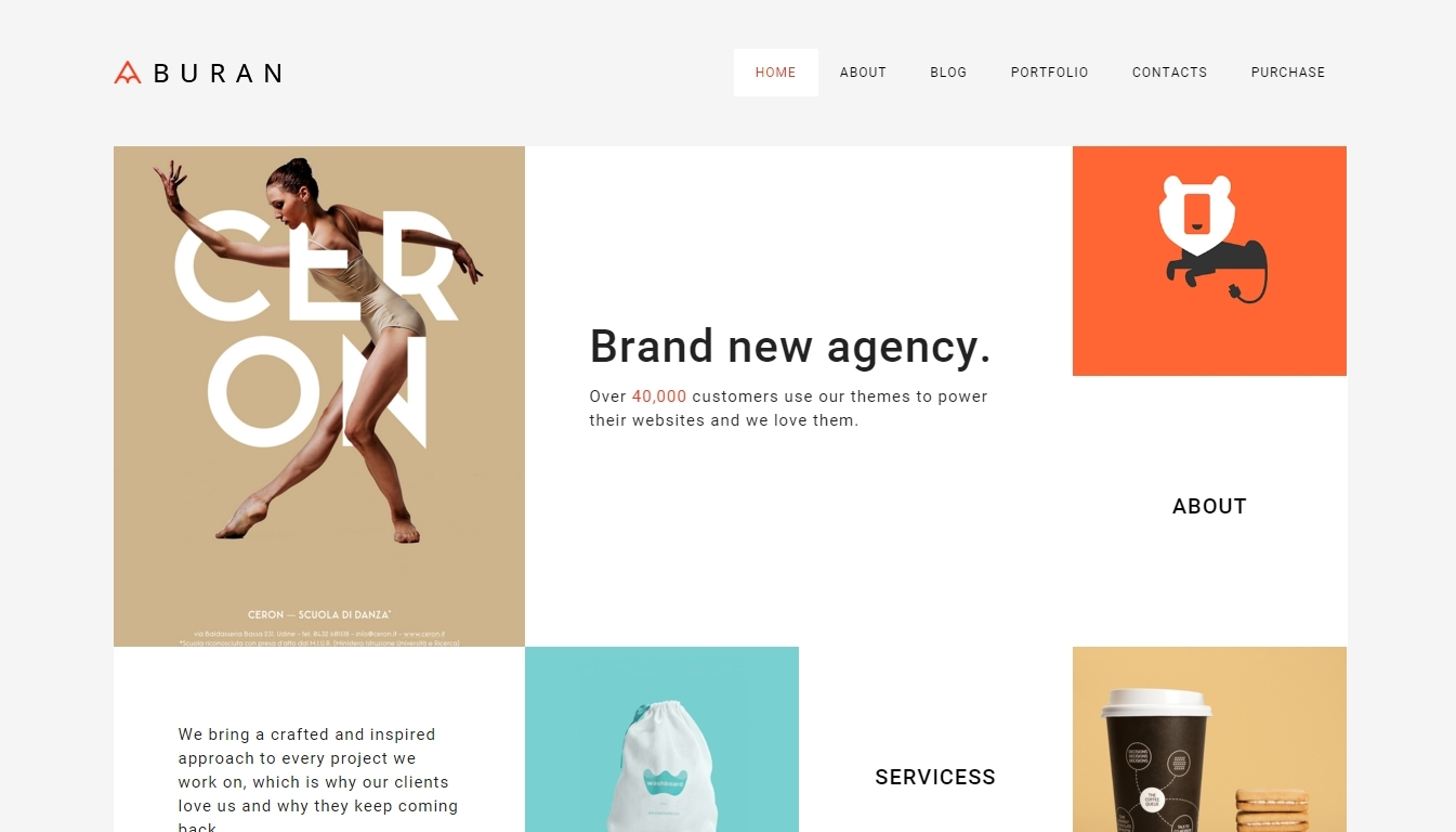 WordPress-based theme for portfolio, which is oriented towards minimalism, elegance and simplicity
