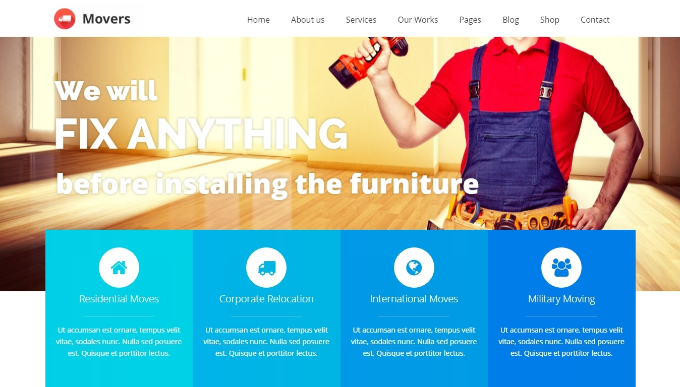 WordPress theme for moving business