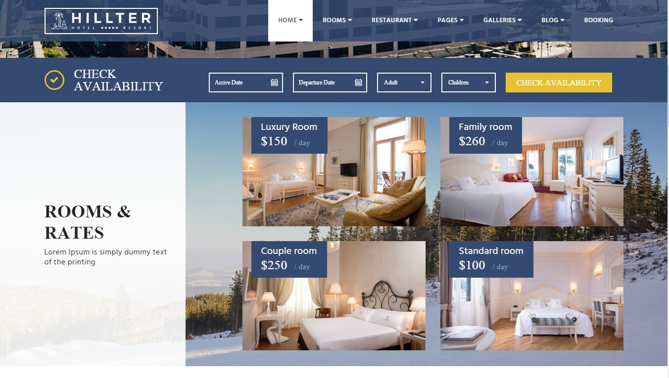 Hillter — hotel website based on WordPress