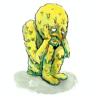 geel figuur is aan het smelten en zit in een depressieve houding