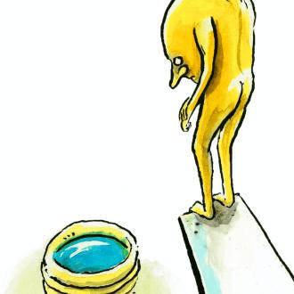 Geel figuur durft niet te springen van een duikplank in een klein zwembadje