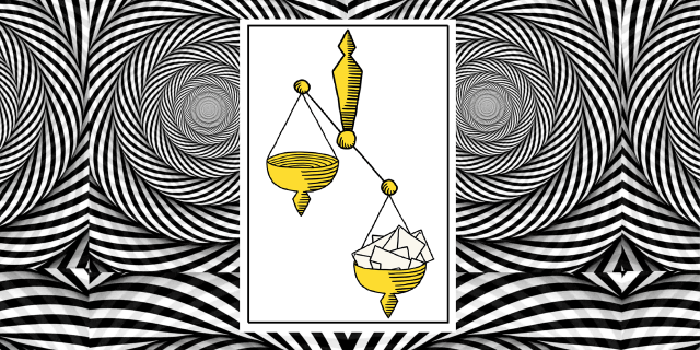Illustratie van ouderwets weegschaal gevuld met papier