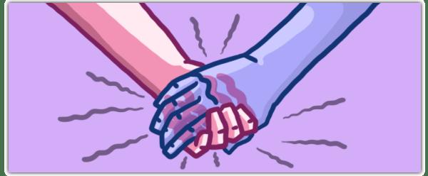 Illu van twee handen die elkaar vasthouden