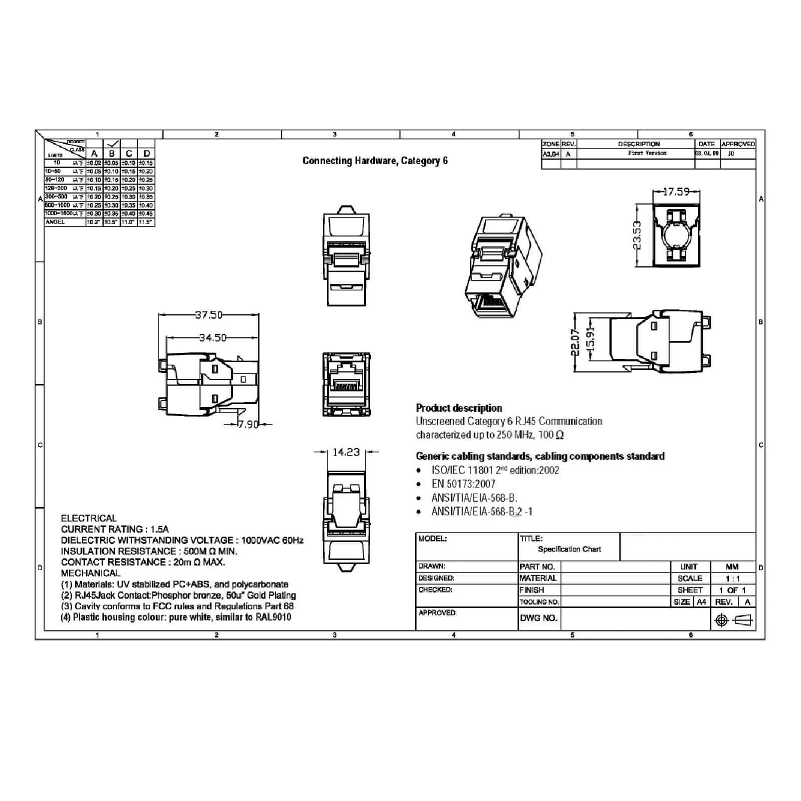 Keystone Jack Modul Cat 6 250mhz 5gbit Rj45 Werkzeuglos