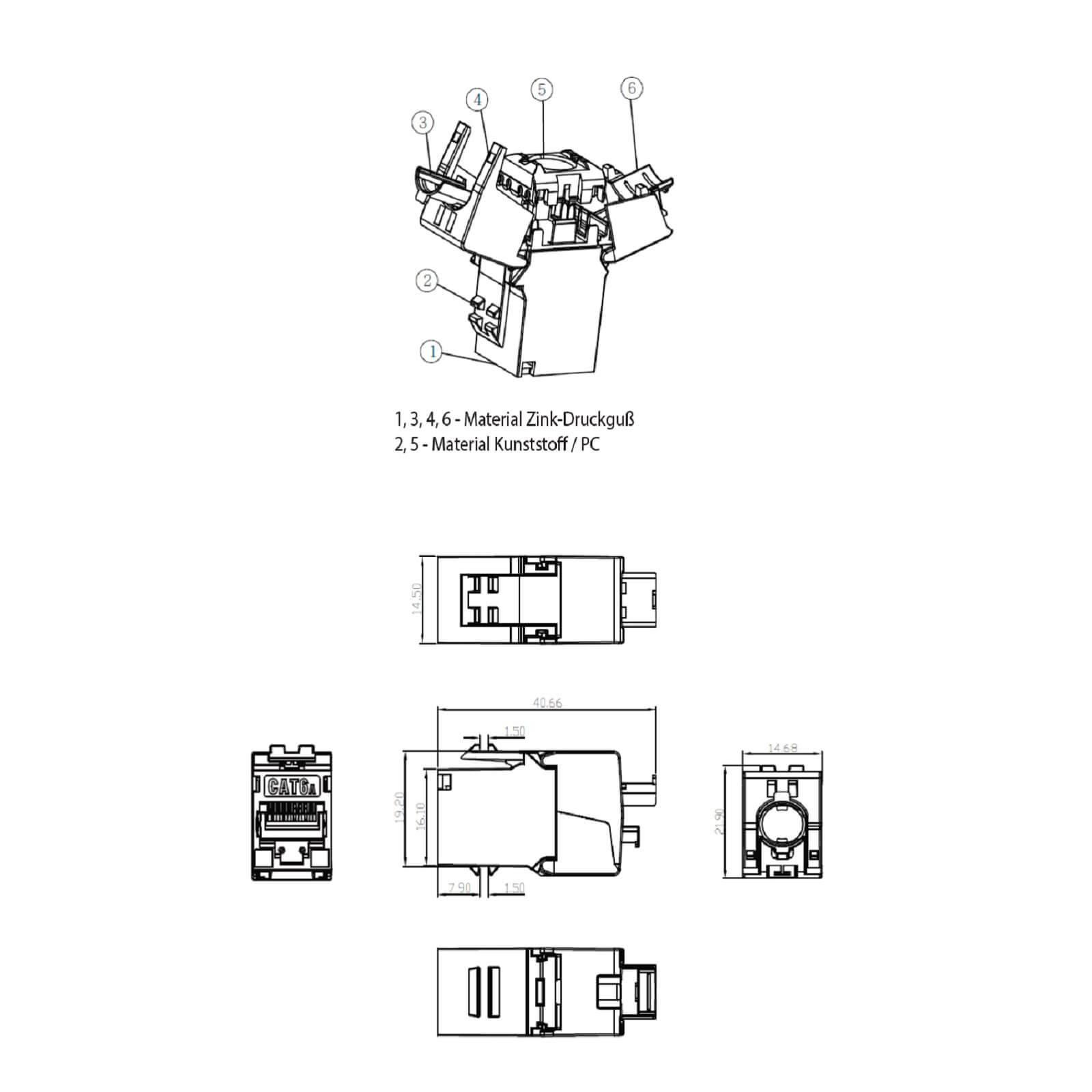 48x Keystone Jack Modul Cat6a Slim 500mhz 10gbit Rj45