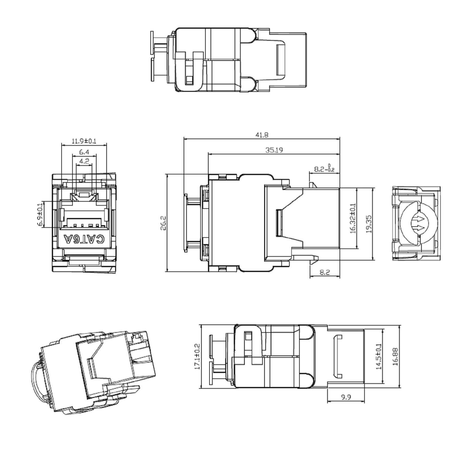 1x Keystone Jack Modul Cat 6a Rj45 Stp Werkzeuglos