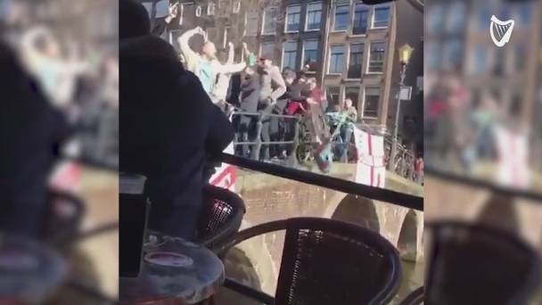Unruly England fans douse unsuspecting canal tourists with alcohol ahead of Amsterdam friendly