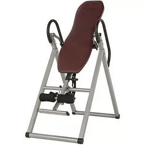 Exerpeutic Stretch 300 Inversion Table Has a Foam Vinyl Covered Backrest