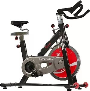 Sunny Health & Fitness Exercise Cycling Bike with Heavy 49 LB Chrome Flywheel - SF-B1002 C