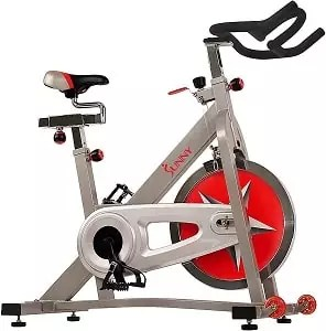 Sunny Health & Fitness Indoor Cycling Bike with 40 LB Flywheel and Dual Felt Resistance - Pro