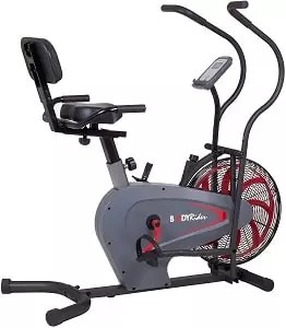 Body Rider BRF980, Upright Air Resistance Fan Bike with Curve-Crank Technology and Back Support