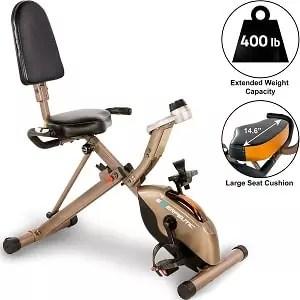Exerpeutic Gold 525XLR Folding Recumbent Exercise Bike, 400 lbs