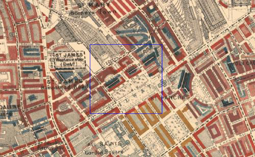 Booth Survey of London (1886), with Euston Square and Euston Grove highlighted