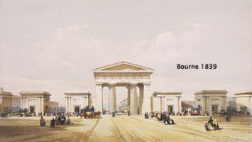Neo-classical screen at London Terminus at Euston Grove, from Bourne (1839) Drawings of the London and Birmingham Railway (London: Ackermann and Co.).