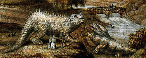 George Baxter 1854 CL193 The Crystal Palace and Gardens. Close-up of statues. Stature are Hylaeosaurus(left) and Iguanodon(sitting). Paxton bridge in background.