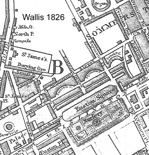 Map. Wallis 1826, showing definition of Euston Square and Euston Grove along the Paddington to Islington Road. Railway terminus not yet complete. Similar to Wallis 1821.