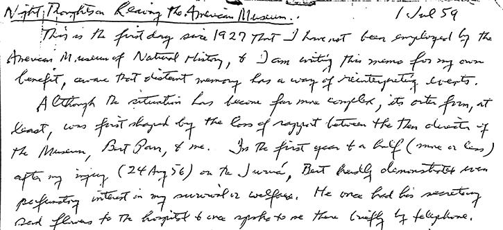 "Manuscript from ""Night Thoughts: George Gaylord Simpson's Reflections on Leaving the American Museum of Natural History"" STS Occasional Papers by Professor Joe Cain"