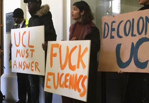 Students protest at University College London (UCL) during scandal over London Conference on Intelligence (LCI) January 2018