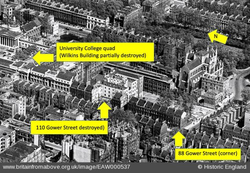 view of number 88 Gower Street in relation to 110 Gower Street and University College quad, 1946 aerial photograph courtesy Historic England. Image EAW000537