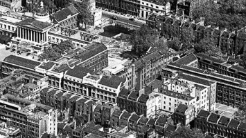 view of location for number 110 Gower Street in relation to University College quad, 1946 aerial photograph courtesy Historic England. Image EAW000537