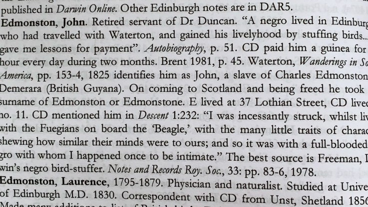 Reference to John Edmonstone in Charles Darwin's Descent fo Man 1871